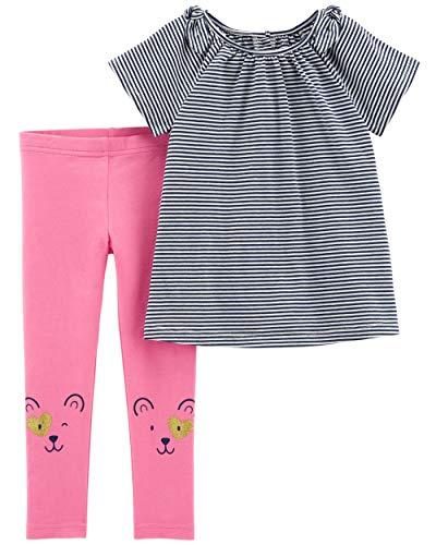 Carter's Baby and Toddler Girls' 2-Piece Top & Legging Set (5T, Striped Top/Bear Legging)
