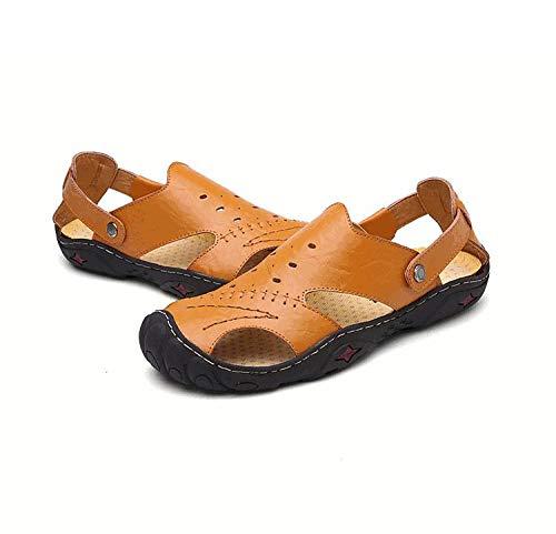 ShopSquare64 Männer Sommer Hollow Out Business Leder Rindsleder weichen flachen Breathable Casual Sandalen Schuhe