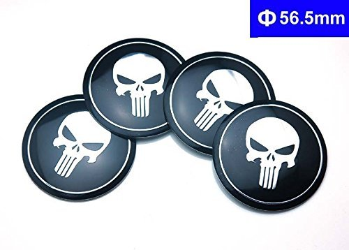 BENZEE 4pcs D133 56.5mm Car Emblem Badge Sticker Wheel Hub Caps Centre Cover SKULL Punisher War Zone