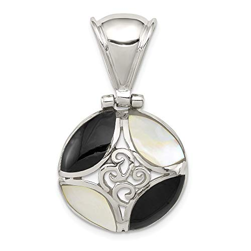 (925 Sterling Silver Black Onyx Mother Of Pearl Pendant Charm Necklace Fine Jewelry Gifts For Women For Her)