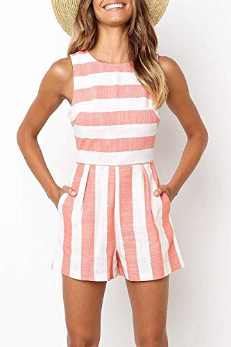 - Sofia's Choice Women Striped Print Sleeveless Jumpsuit Romper Short Pants Casual Style Romper (Pink, Tag XL=US 14)