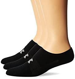 Under Armour Men\'s HeatGear Solo No-Show Socks (3 Pairs), Black, Youth Large