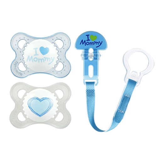 AM Pacifiers and Baby Pacifier Clip, Baby Pacifier 0-6 Months and Baby Pacifier Clip, Best Pacifier for Breastfed Babies, I Love Mommy Design Collection, Boy, 3-Count