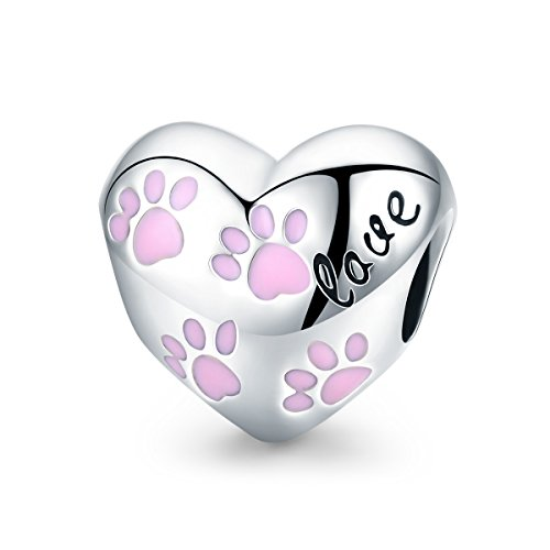 PHOCKSIN 925 Sterling Silver Charms Animal Beads Love Heart Pink Enamel Dog Paw for Bracelets Jewelry