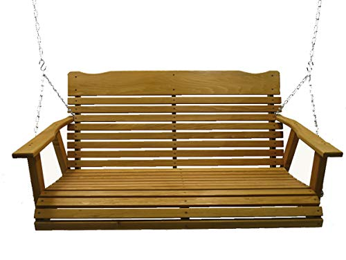 Glider Cedar Swing (Kilmer Creek 4' Cedar Porch Swing W/stained Finish, Amish Crafted - Includes Chain & Springs)