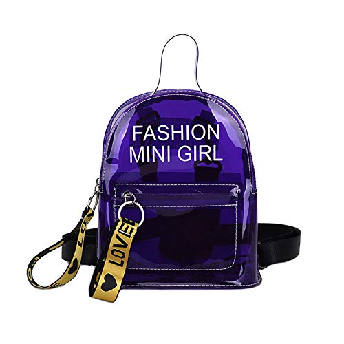 Clear Mini Backpack Stadium Approved Girls' Transparent Casual Daypack Shoulder Bags for School,Concert, Security Travel &Sports (Purple) (Purple Plastic Purse)