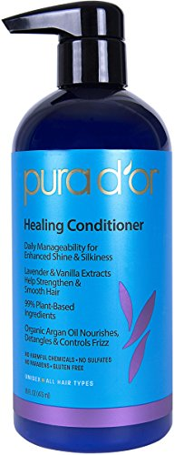 PURA D'OR Healing Conditioner for Dry, Damaged, Frizzy Hair, with Lavender and Vanilla, Argan Oil and Natural Ingredients, Sulfate Free, All Hair Types, Men & Women, 16 Fl Oz (Packaging ()