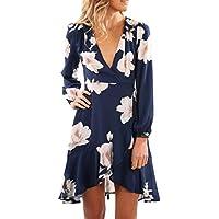 Womens Dress,FUNIC Women V-Neck Floral Printing Long Sleeve Sundress Party Mini Dress (S, Navy Blue)