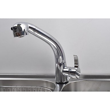 Contemporary Concise One Hole Chrome Finish Pullout Small Kitchen Faucet