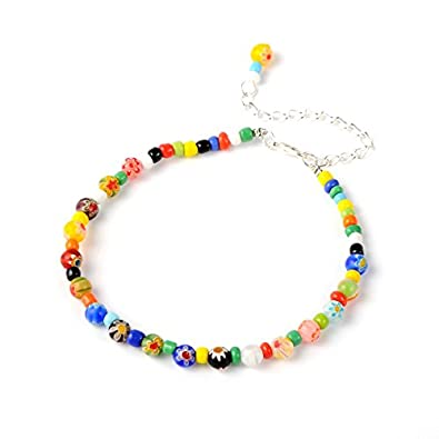 Idin Fashion Anklet - Handmade multicoloured Millefiori glass beads anklet (Length approx. 23.5 cm) liDSf0