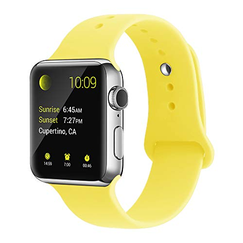 YunTree Compatible with Apple Watch Band 42mm/44mm S/M Size iWatch Sports Band Replacement for Women Man Apple Watch Series 4/3/2/1 Size Comfortable Silicone Strap-Yellow -