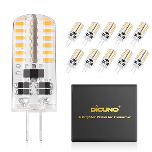 DiCUNO G4 3W LED Warm White Light Lamps AC/DC 12V Non-dimmable Equivalent to 20W ~ 25W T3 Halogen Track Bulb Replacement LED Bulbs 10pcs