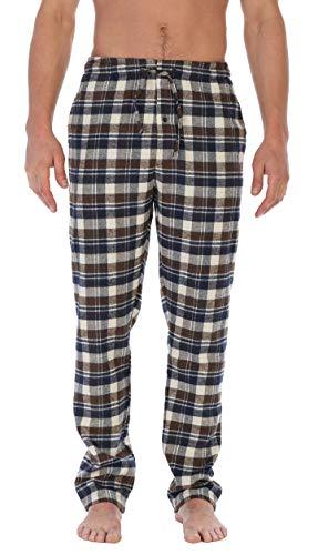 Gioberti Mens Brushed Flannel Pajama Pants, Elastic Waist, Navy/Brown/Ivory, Large ()