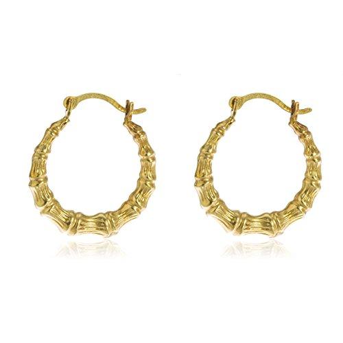 14k Yellow Gold .5 Inch Bamboo Small Hoop Earrings