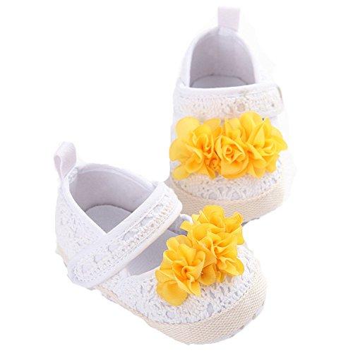 etrack-online Baby Girl Knit suave suela zapatos Prewalker calcetines Zapatillas con flores beige beige Talla:12-18month blanco