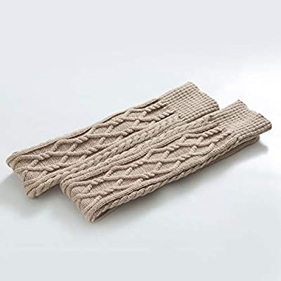 SherryDC Women's Cable Knit Boot Stockings Extra Long Thigh High Leg Warmers Winter Floor Socks Beige at Women's Clothing store