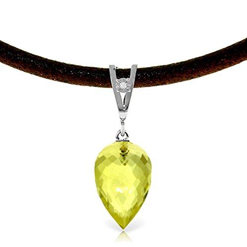 ALARRI 9.01 Carat 14K Solid White Gold Leather Necklace Diamond Lemon Quartz with 20 Inch Chain Length