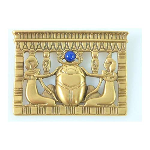 - pricegems Matte Gold Finish Egyptian Revival Lapis Lazuli Scarab Pectoral Brooch Pin 1.75