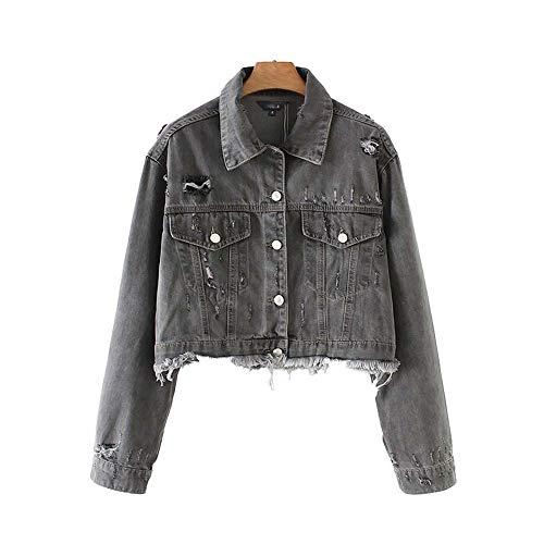 Women Denims Jacket Coats Hole Pockets Tassels Single Breasted high Waist Outerwear Vintage Female Tops, M,China