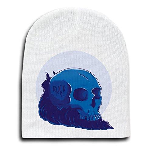 - Rock! - White Adult Beanie Skull Cap Hat