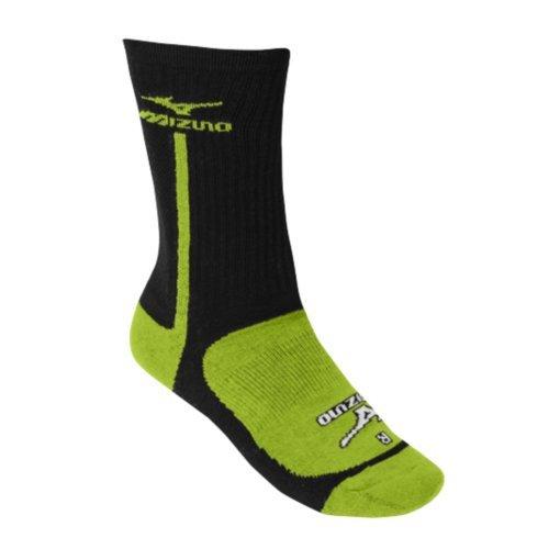 Mizuno Performance Highlighter Crew Sock, Black/Lemon, Large