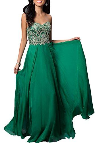 Strapless Abendkleid Goldstickerei Bodenlangen Grün mit Erosebridal FwTEg