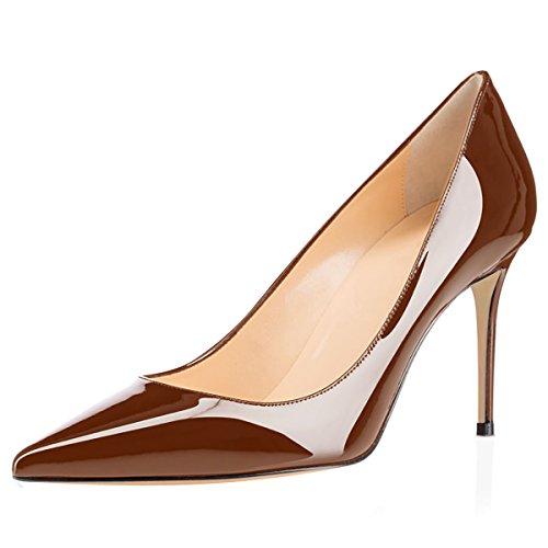 - Eldof Women's High Heel Pumps Classic 3.2in Patent Pointed Toe Stilettos 8cm Wedding Party Dress Pumps Brown US9