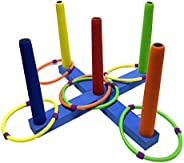 NUOBESTY Ring Toss Game Set Throwing Ring Toy Colorful Plastic Lawn Darts Sport Game Indoor Outdoor Yard Games