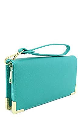 Faux Saffiano Leather Wallet Wristlet with Gold Hardware Edges