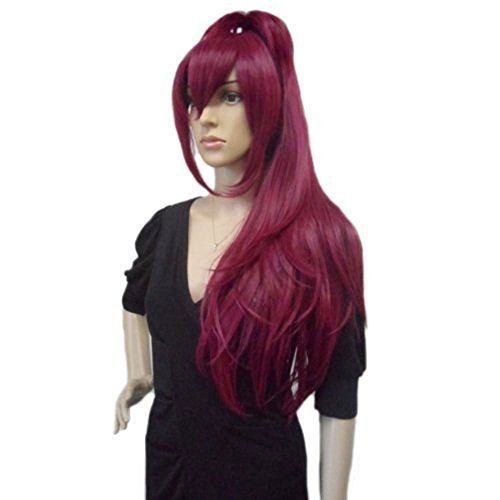 Anogol Hair Cap+Long Straight Wine Red Ponytail Anime Cosplay Party wig