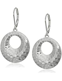Women's Silver Tone Small Circle Drop Leverback Earrings, One Size