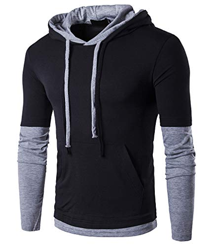 - QPNGRP Mens Hip-hop Streetwear Casual Hoodie Shirt B26 Black Large