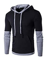 8301f5c8 QPNGRP Mens Long Sleeve T-Shirt Casual Slim-Fit Hoodie