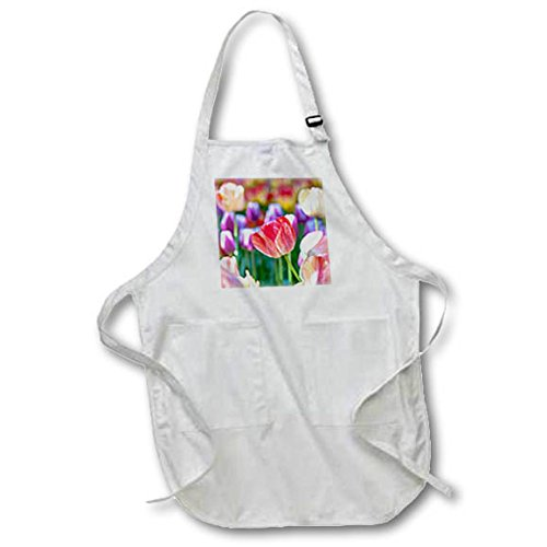 3dRose Alexis Photography - Flowers Tulip 3 - Lovely red tulip flowers on a colorful flowerbed in a garden - Medium Length Apron with Pouch Pockets 22w x 24l (apr_276012_2)