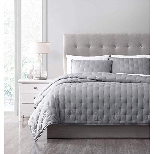 French Impression Milano 3 pc Quilted Bamboo Coverlet Set Grey King - Cal King