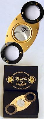 Self Stamped Envelope - Cuban Crafters CC08SS Gold and Titanium Wholesale Cigar Cutter - Self Sharpening Stainless Steel Double Blades - O Round Design