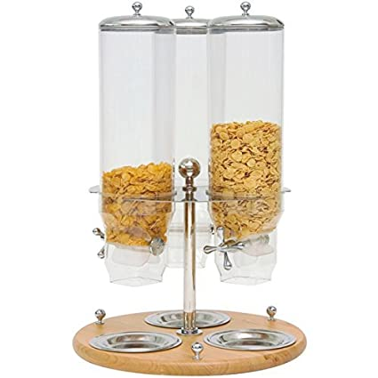 Dispensador Dosificador Cereales giratoria Triple de madera 3 x 3 bar hotel restaurante