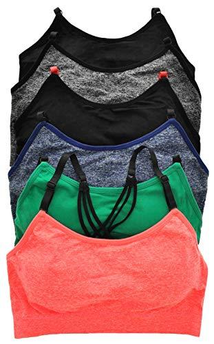 ToBeInStyle Women's 6 Pack Seamless Elegant Strap Racerback Sports Bra - L/XL