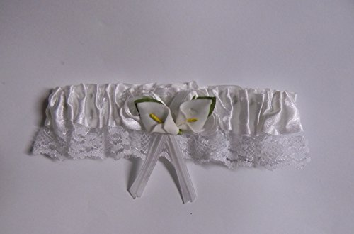 Wedding Ceremony Reception Party Satin Lace Calla Lily Garter White 4 Bride