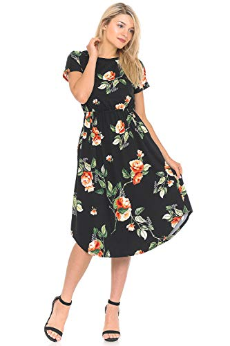 - iconic luxe Women's Short Sleeve Flare Midi Dress with Pockets X-Large Floral Black Coral
