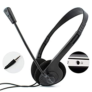 I-CHOOSE LIMITED Computer Laptop Headset with Stereo Microphone | Single 3.5mm TRRS Connector | Lightweight Stereo…