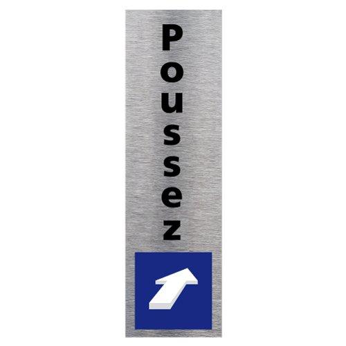 Plaque de porte Poussez vertical - Adhésif Autocollant Sticker aspect Aluminium Brossé - Pictogramme Poussez vertical Porte Rectangle Dimensions 170 x 50 mm - Poussez vertical Signalétique.biz France Q0135