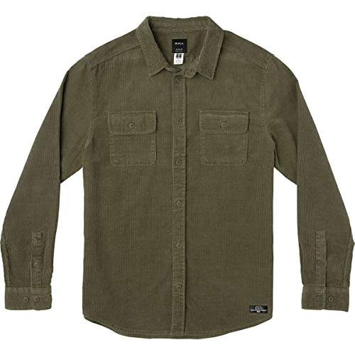 RVCA Men's Campbell Corduroy Button-Up Shirt Olive Small ()