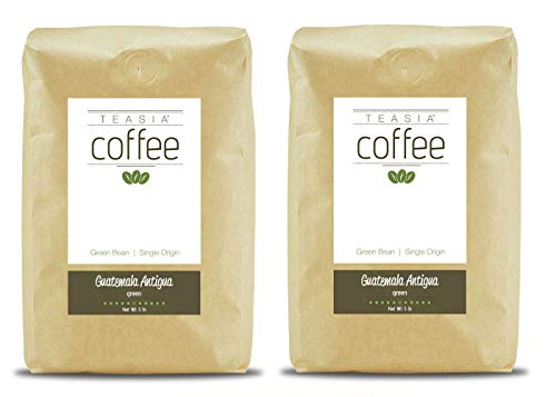 Guatemala Antigua Green Coffee - Teasia Coffee, Guatemala Antigua, 2-Pack, Single Origin, Green Unroasted Whole Coffee Beans, 5-Pound Bag