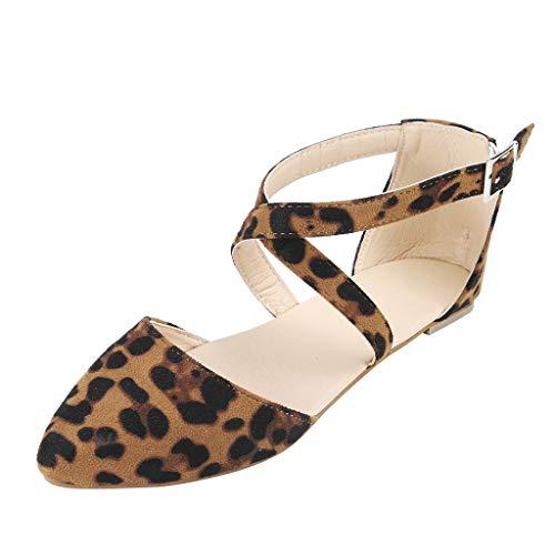 (MILIMIEYIK Bohemia Sandals Slippers, Shoes for Women Round Toe Platform Strap Flat Heel Buckle Leopard Cross Sandals Khaki)