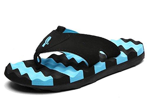 Zapatillas de verano pantalones hombres fresco marea hombres antideslizante personalidad playa parejas al aire libre chancletas Blue