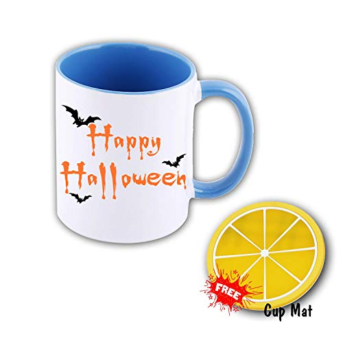 Coffee Cup Happy Halloween Office Coffee Mug Funny Ceramic Water Bottle Double Prints Drink and Gift Coaster Mat 11 oz Sky Blue ()