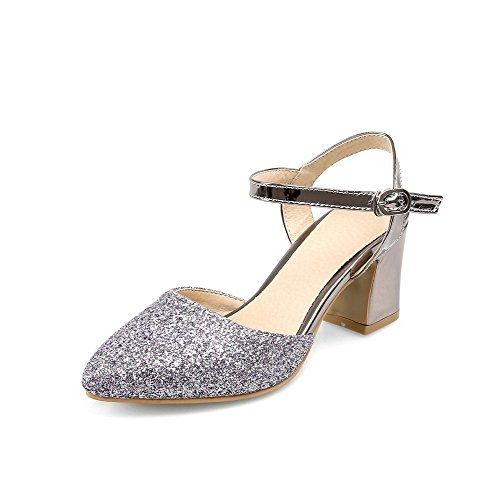 AmoonyFashion Womens Solid Blend Materials High Heels Pointed Closed Toe Buckle Pumps Shoes Silver