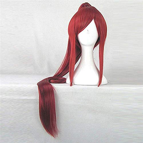anime fairy tail erza scarlet 100cm long synthetic hair red costume wig beautiful perucas cosplay wig with1 ponytail Halloween]()