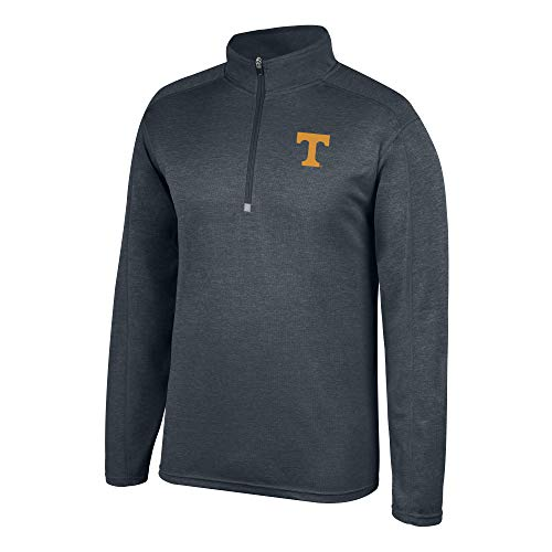 (Top of the World NCAA Men's Tennessee Volunteers Dark Heathered Poly Half Zip Pullover Charcoal Heather Large)